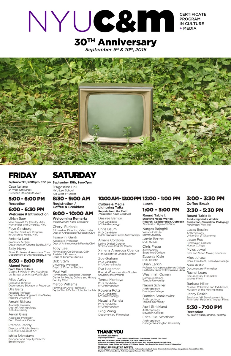I created this schedule for the NYU Certificate Program in Culture and Media's 30th reunion event.