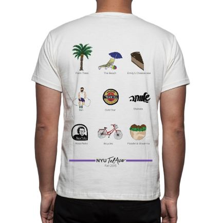 I created this T-Shirt design for the Fall 2015 Semester at NYU Tel Aviv. The back of the design has icons I hand drew and then digitalized, each of which represent a significant memory for our time in Tel Aviv that semester.