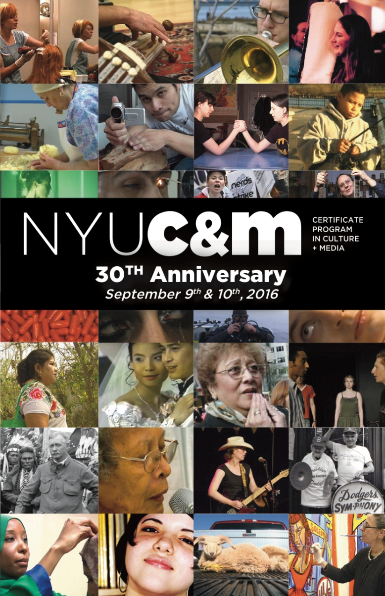 I created this panphlet schedule for the NYU Certificate Program in Culture and Media's 30th reunion event. Each of the pictures highlight a different movie created by alumni of the center.