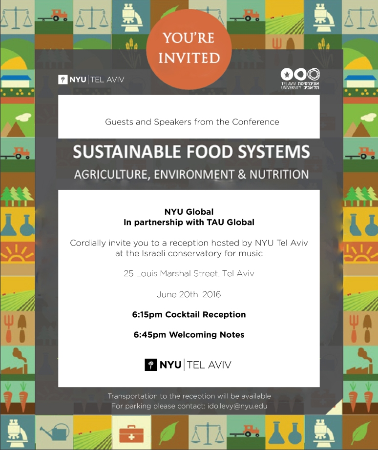 This invitation was commissioned by NYU TLV for the Sustainable Food Systems Conference Reception, held at the NYU TLV Campus.
